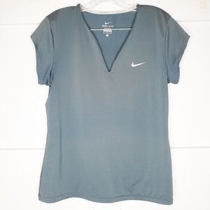 Nike Tennis Steel Gray Blue Dri Fit VNeck Shirt
